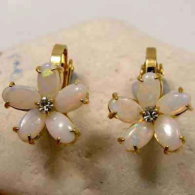 9K Yellow Gold plated earrings with 2 x 5 SOLID OPALS