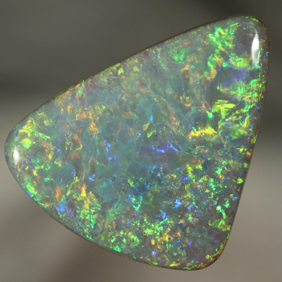 SOLID SEMI BLACK OPAL Large 15ct opal with a Floral Harlequin pattern WITH VIDEO