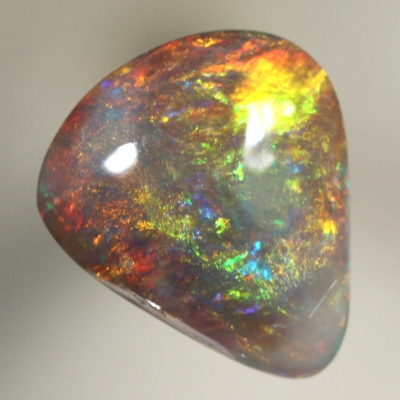 SOLID SEMI BLACK OPAL Bright, strong fire over a high dome