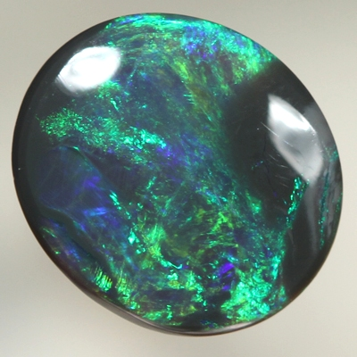 SOLID BLACK OPAL Bright golden green and royal blue
