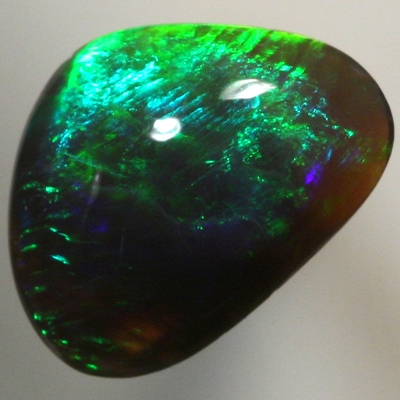 SOLID BLACK CRYSTAL OPAL Bright and strong forest green