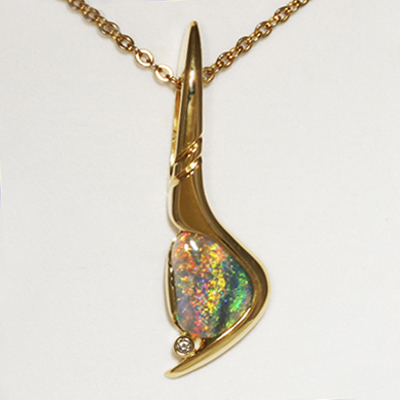 Custom made 18k Yellow Gold Opal Pendant. Sparkly and bright, orange and gold with green in between