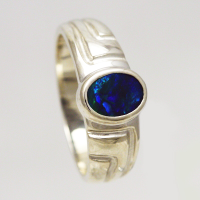 Stirling silver Ring with BLACK OPAL Sparkling forest moves over dark blue