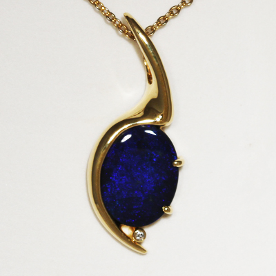 Custom Made 18k Yellow Gold Pendant with a SOLID BLACK OPAL Constant royal blue